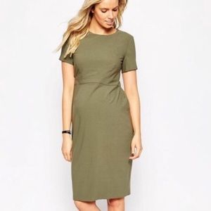 ASOS Maternity Open Back Army Green Midi Dress!
